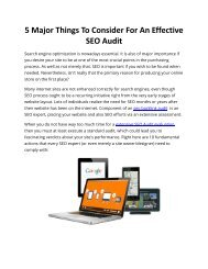 5 Major Things To Consider For An Effective SEO Audit