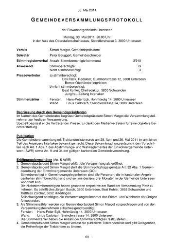 Gemeindeversammlung vom 30. Mai 2011 - Unterseen