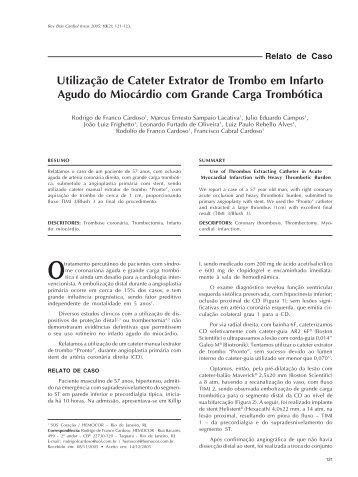 Utilização de Cateter Extrator de Trombo em Infarto Agudo do ...