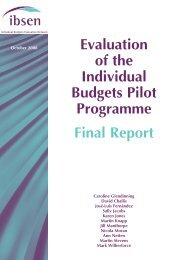 Evaluation of the Individual Budgets Pilot Programme – Final Report