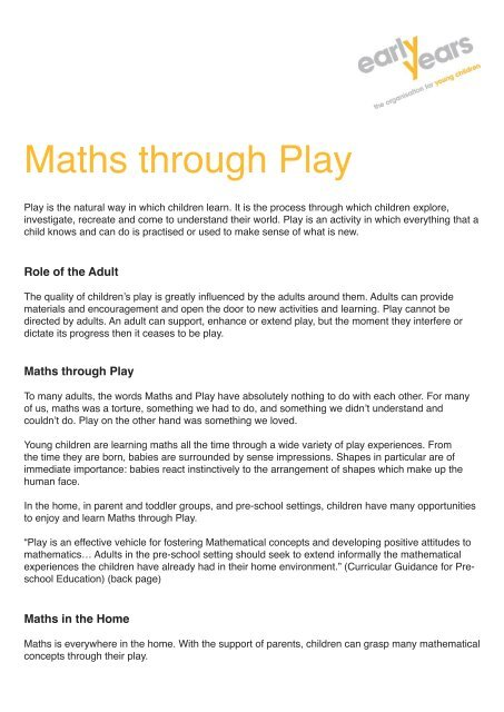 Maths through Play - Early Years