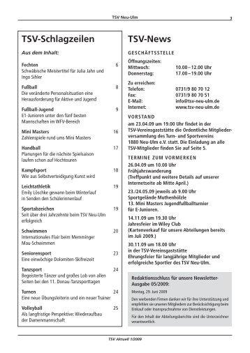 TSV-News TSV-Schlagzeilen - TSV 1880 Neu-Ulm