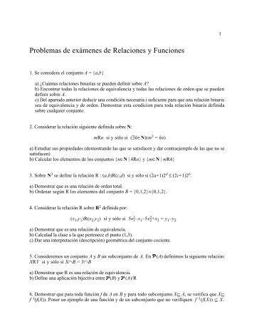 Problemas de exámenes de Relaciones y Funciones