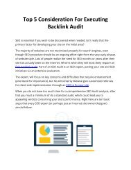 Top 5 Consideration For Executing Backlink Audit