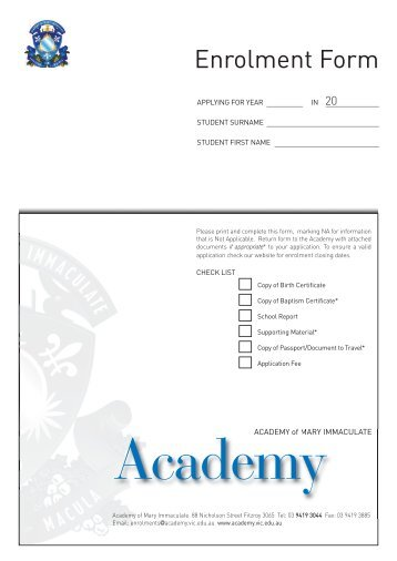 Enrolment Form - Academy of Mary Immaculate
