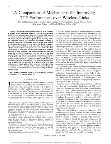 A Comparison Of Mechanisms For Improving TCP Performance ...