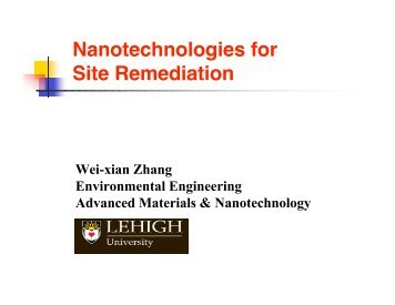 Nanotechnologies for Site Remediation