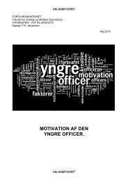 MOTIVATION AF DEN YNGRE OFFICER. - Forsvarsakademiet