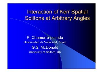 Interaction of Kerr Spatial Solitons at Arbitrary Angles - University of ...