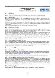 Pflichten der Teilnehmer - DFN-PKI - DFN-Verein