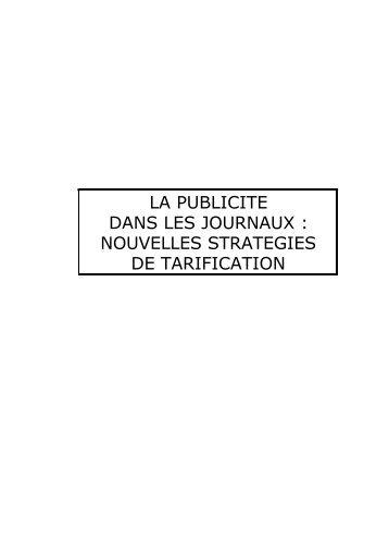 LA PUBLICITE DANS LES JOURNAUX : NOUVELLES ...