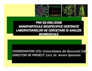 Nanoparticule biospecifice destinate laboratorelor de ... - Prezentare
