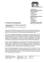37. Berliner Steuergespräch - Berliner Steuergespräche eV