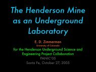 E. D. Zimmerman for the Henderson Underground Science and ...