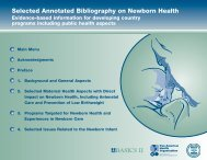 Selected Annotated Bibliography on Newborn Health - basics