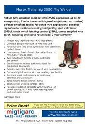 Murex Transmig 300C Mig Welder.cdr - Mig Tig Arc Welding Supplies