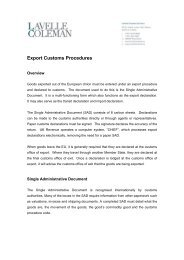 Export Customs Procedures - Lavelle Coleman