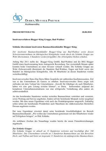 Pressemitteilung - Derra, Meyer & Partner