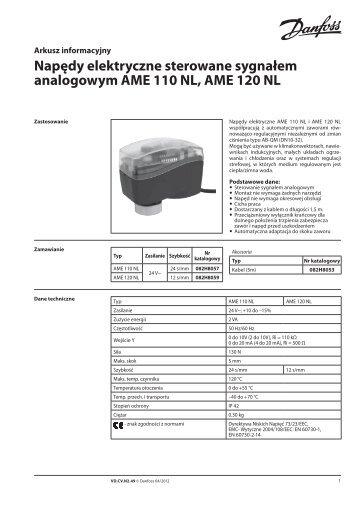 Napędy elektryczne sterowane sygnałem analogowym ... - Danfoss