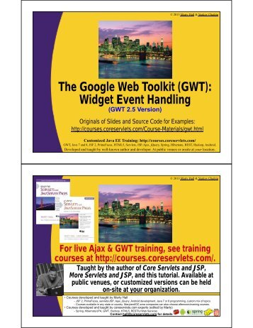 Widget Event Handling - Custom Training Courses - Coreservlets.com