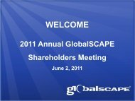 Annual Shareholder's Meeting Presentation - GlobalSCAPE