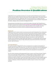 College Park Church Associate Youth Pastor Position Overview ...