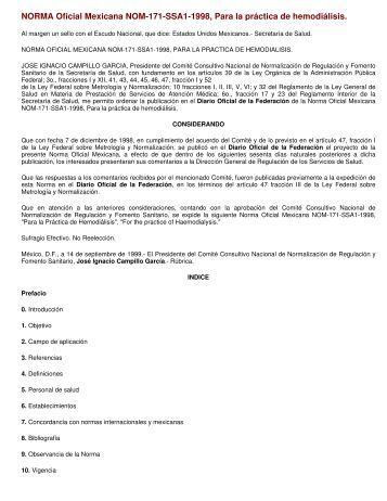 NORMA Oficial Mexicana NOM-171-SSA1-1998, Para la práctica de ...