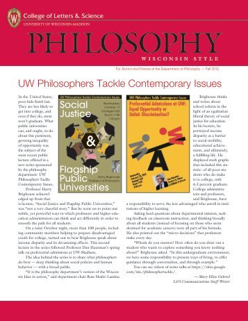 UW Philosophers Tackle Contemporary Issues - Department of ...