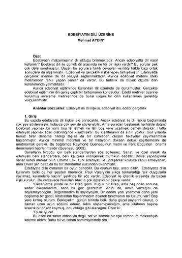 Edebiyatin Dili Üzerine / Mehmet AYDIN / ( pdf )