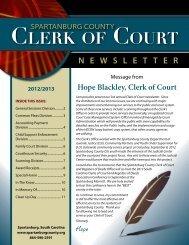 2012 Newsletter - Spartanburg County