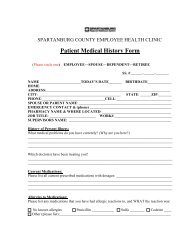 Patient Medical History Form - Spartanburg County