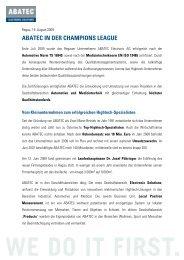 ABATEC IN DER CHAMPIONS LEAGUE - Gesundheits-Cluster