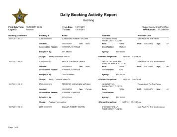Flagler County jail bookings, Oct. 17-18, 2011 - FlaglerLive