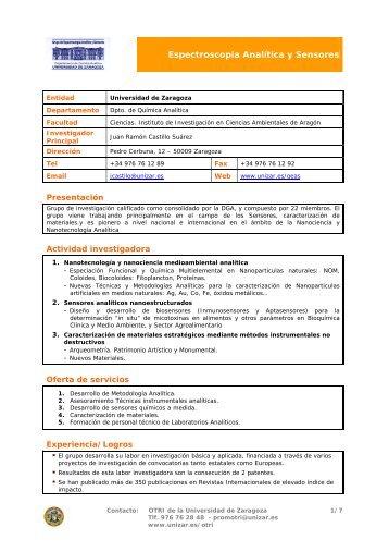 Analytical Spectroscopy and Sensors Group (GEAS) - IUCA