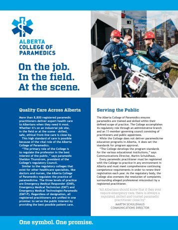 On the job. In the field. At the scene. - Alberta College of Paramedics