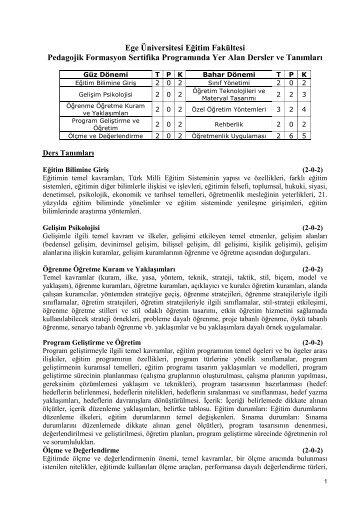 Pedagojik Formasyon Programı - Eğitim Fakültesi - Ege Üniversitesi