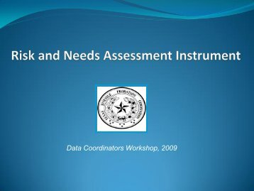 Factors in the Needs Assessment - Texas Juvenile Justice Department