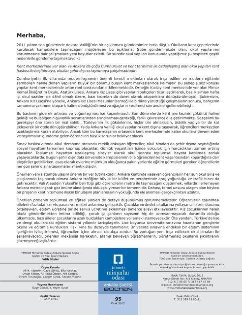 Bulten 95 Ocak 2012 Mimarlar Odasi Ankara Subesi