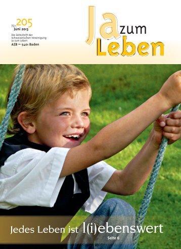 Zeitschrift Nr. 205 (Juni 2013) - Ja zum Leben Sektion Bern