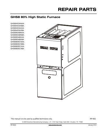 Goodman aruf repair parts manual on