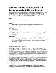 Seminar: Gemeinsam Bauen in der Baugemeinschaft (für Architekten)