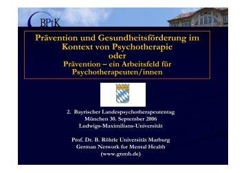 Prof. Dr. B. Röhrle - PTK Bayern