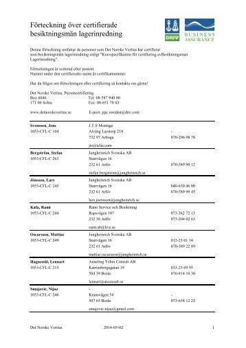 Förteckning över certifierade besiktningsmän lagerinredning