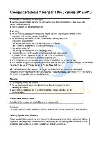 Overgangsreglement leerjaar 1 t/m 3 cursus 2012-2013
