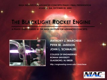 Anthony J. Marchese - NASA's Institute for Advanced Concepts