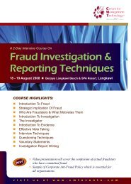 Fraud Investigation & Reporting Techniques - CMT Conferences