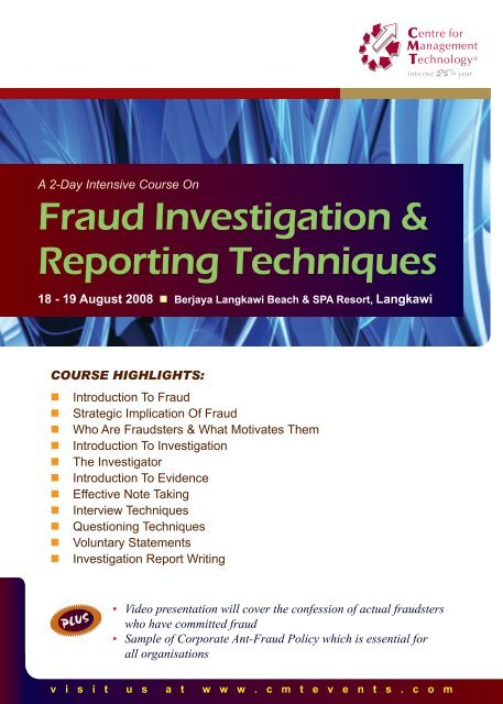 Fraud Investigation Reporting Techniques Cmt Conferences