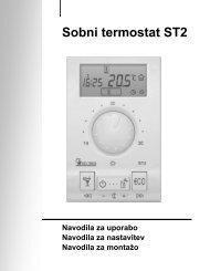 Sobni termostati Seltron ST2xx - Navodila za uporabo