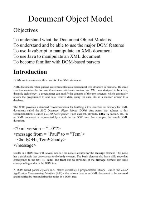 The description of XML: document object model (DOM)