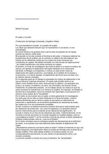 Michel Foucault El sujeto y el poder (Traducción de ... - bilboquet